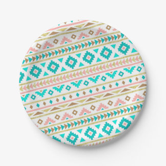 Boho Tribal Chic Geometric Stripes Paper Plate