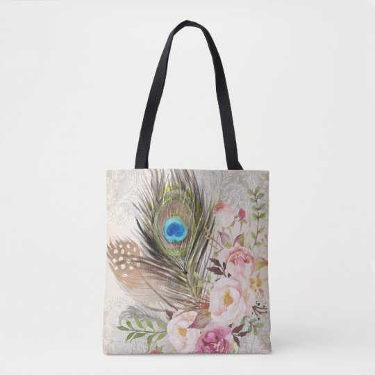 Boho Tribal Chic Peacock Feather & Roses Tote