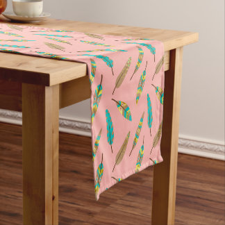 Boho Tribal Chic Pink Feathers Table Runner
