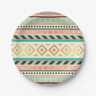 Boho Tribal Chic Stripes Paper Plate