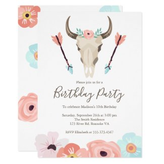 Boho Tribal Cow Skull Birthday Party Invitation