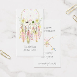 Boho Tribal Dream Catcher Arrows Feathers Flowers Business Card