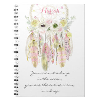 Boho Tribal Dreamcatcher Flowers Native Spirit Spiral Note Book