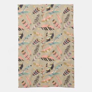 Boho Tribal Feather Pattern Kitchen Towel