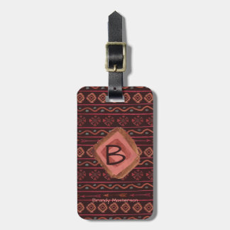 Boho Tribal Pattern, Personalized & Reversible Luggage Tag