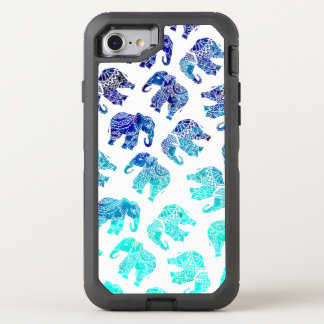 Boho turquoise blue ombre watercolor elephants OtterBox defender iPhone 7 case