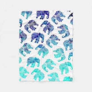 Boho turquoise mandala watercolor elephants fleece blanket