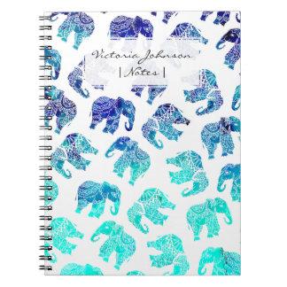 Boho turquoise mandala watercolor elephants note book