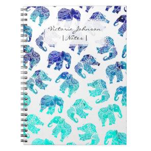 Boho turquoise mandala watercolor elephants notebook