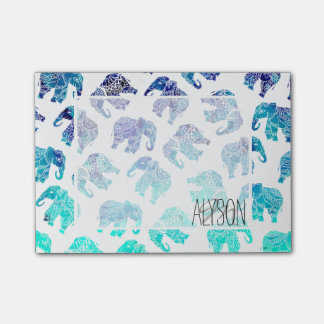 Boho turquoise mandala watercolor elephants post-it notes