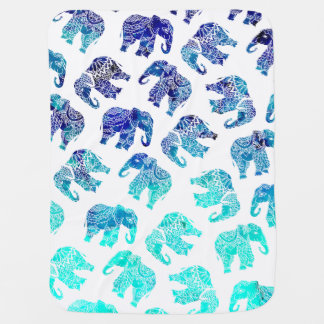 Boho turquoise watercolor elephants illustration baby blanket