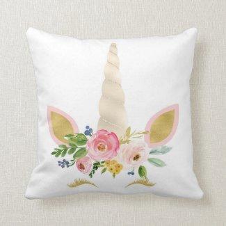 Boho Unicorn Face Gold Floral Girl Nursery Pillow