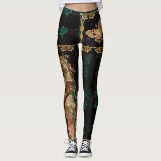 Boho Venus Goddess Patterned Asymmetrical Art Leggings