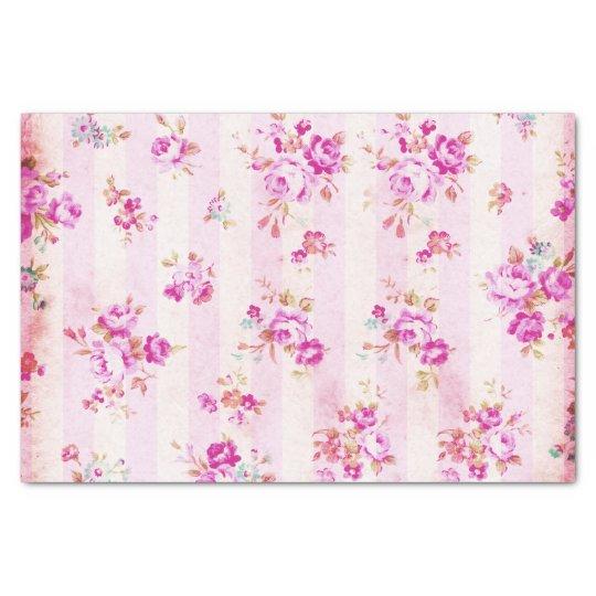 Boho vintage blush pink roses flowers stripes tissue