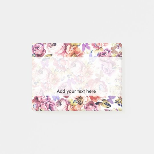 Boho vintage butterfly pink roses flowers post-it notes