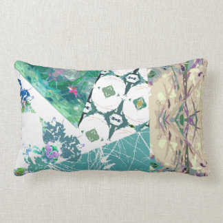 Boho vintage country chic patchwork teal floral lumbar pillow