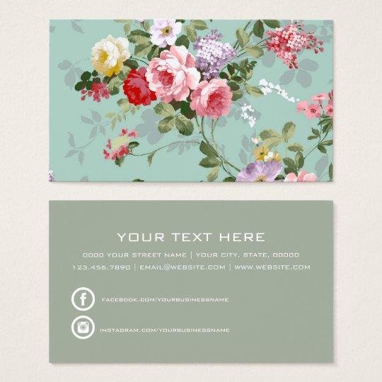 Boho vintage elegant pink red roses floral business