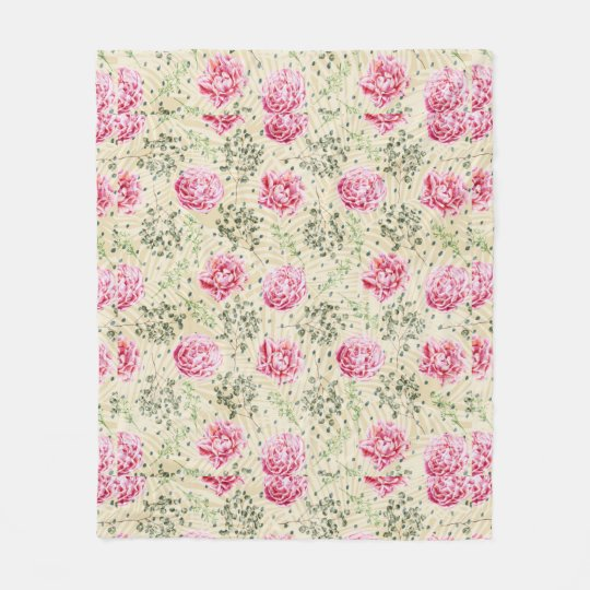 Boho vintage pink green tropical floral polka dots