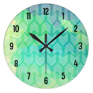 Boho Watercolor Arrows Geometric Pattern Large Clock
