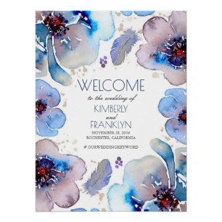 Boho Watercolor Blue Flowers Wedding Welcome Sign