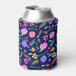 Boho watercolor botanical floral pattern navy blue can cooler