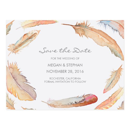 Boho Watercolor Feathers Save the Date Postcard