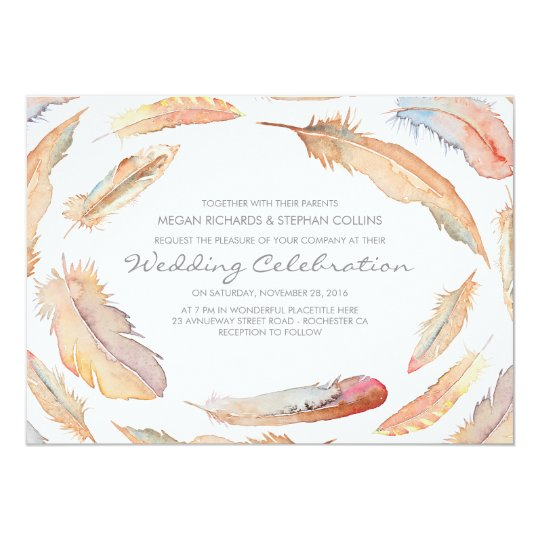 boho watercolor feathers tribal and wild wedding card