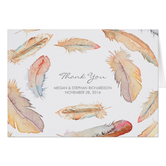 Boho Watercolor Feathers Wedding Thank You Card