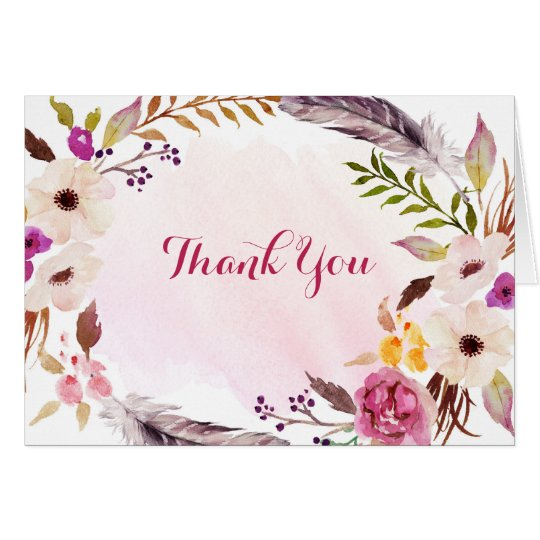 Boho Watercolor Floral Bridal Shower Thank You Card