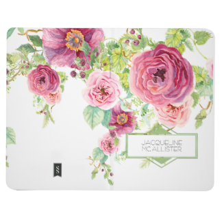 Boho Watercolor Floral Peony Roses Trellis Pattern Journal