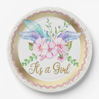 Boho Watercolor Flower Baby Shower Paper Plates