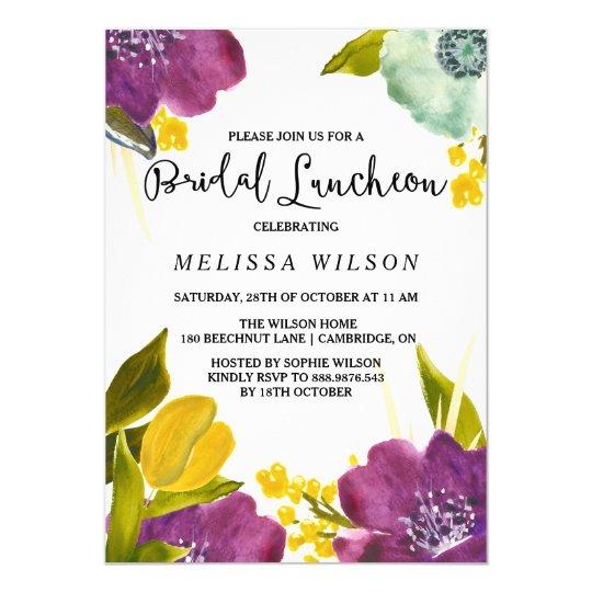 Boho Watercolor Flowers Bridal Luncheon Invitation