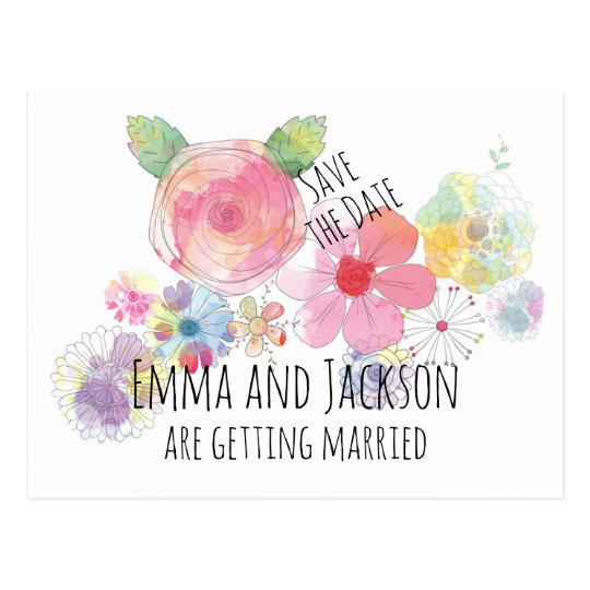 Boho Watercolor Flowers Save the Date Postcard