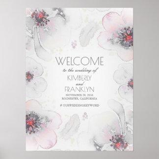 Boho Watercolor Grey Flowers Wedding Welcome Sign