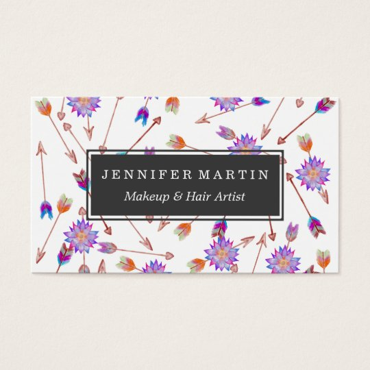 Boho Watercolor Hand Painted Flower and Arrows Business