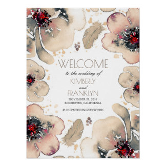 Boho Watercolor Ivory Flowers Wedding Welcome Sign