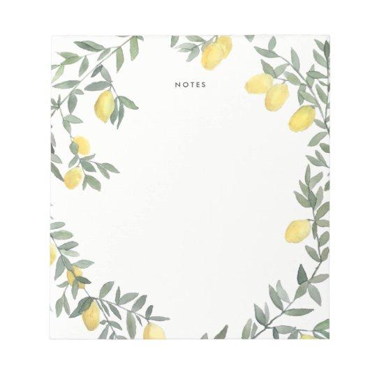 Boho Watercolor Lemon Wreath Notepad