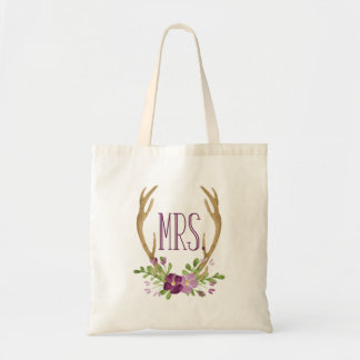 Boho Watercolor Mrs. Tote Bag