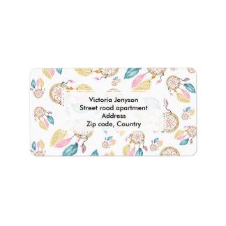 Boho  watercolor pastel dreamcatcher pattern label