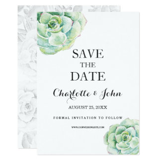 boho watercolor succulent wedding save the dates card