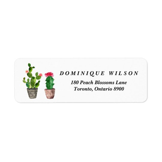 Boho Watercolor Succulents Customisable Return Return Address Label