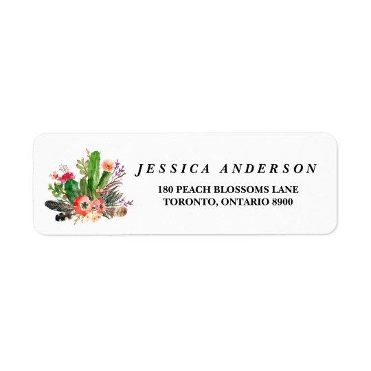 Boho Watercolor Succulents Floral Address Label