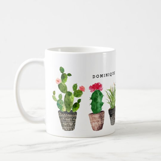 Boho Watercolor Succulents Pattern Personalised Coffee Mug