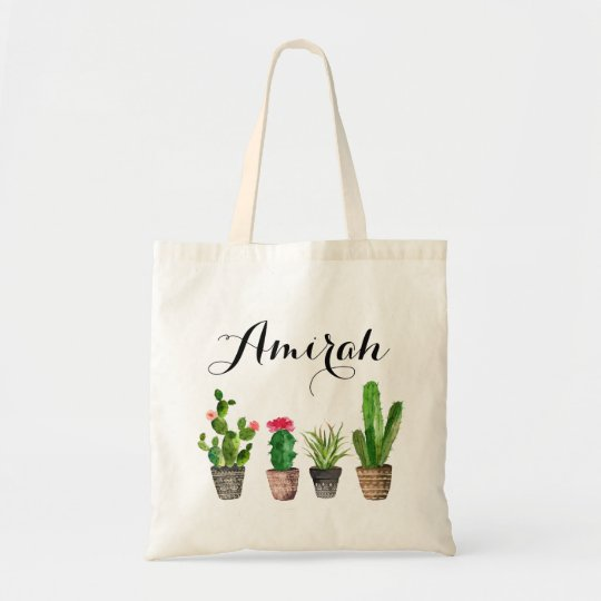Boho Watercolor Succulents Personalised Canvas Tote Bag