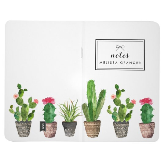 Boho Watercolor Succulents Personalised Stylish Journal