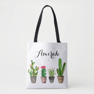 Boho Watercolor Succulents Personalized Tote Bag