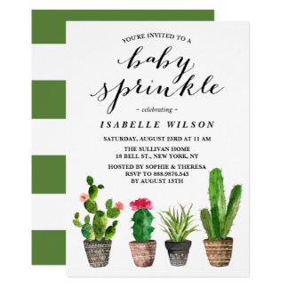 Boho Watercolor Succulents Summer Baby Sprinkle Card
