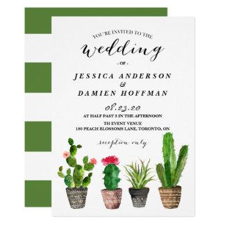Boho Watercolor Succulents Wedding Invitation IV