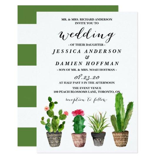 Boho Watercolor Succulents Wedding V Card
