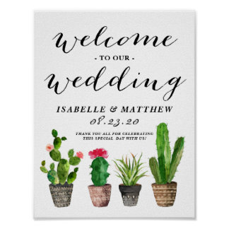 Boho Watercolor Succulents Welcome Wedding Sign